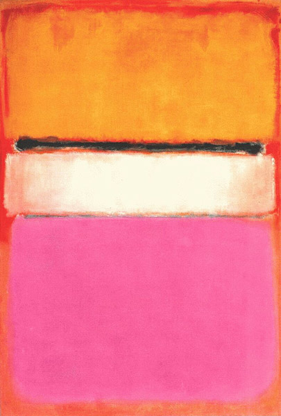 White Center with Yellow, Pink and Lavender on Rose by Mark Rothko
